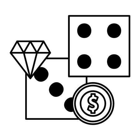 dices coin money diamond casino game bet vector illustration 向量圖像