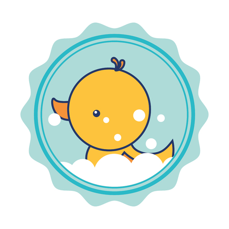 rubber duck foam bubble bathroom vector illustration