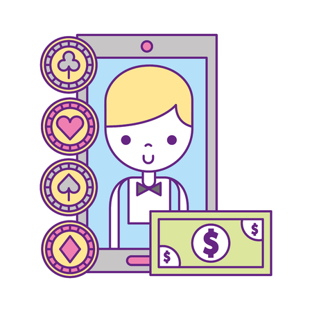 male croupier cellphone app money casino game vector illustration Illustration