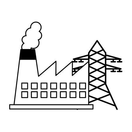 factory and tower electricity energy renewable vector illustration