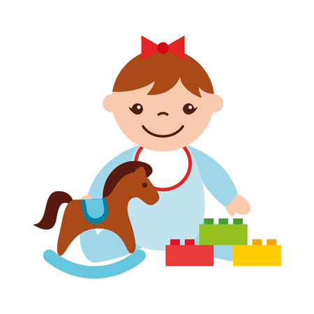 cute baby girl sitting with rocking horse toy kid vector illustration Stock Illustratie