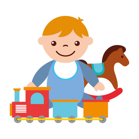cute baby boy sitting with rocking horse train toy vector illustration