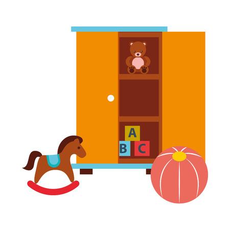 closet with toys bear blocks rocking horse and ball vector illustration