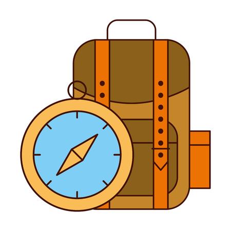 backpack and compass safari equipment supplies vector illustration Illustration
