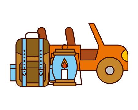 jeep vehicle rucksack and lantern safari equipment supplies vector illustration Illustration