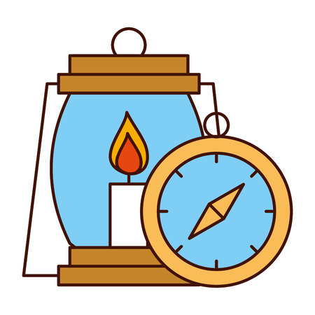 lantern and compass safari equipment supplies vector illustration