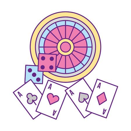 roulette dices and aces casino game vector illustration