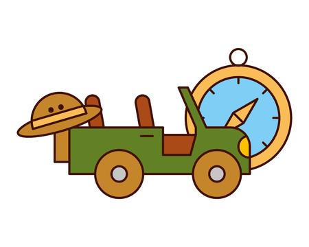 jeep vehicle hat and compass safari equipment vector illustration Ilustração Vetorial