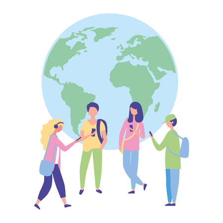 people group using mobile world technology vector illustration