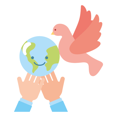 hand with world pigeon charity and donation vector illustration
