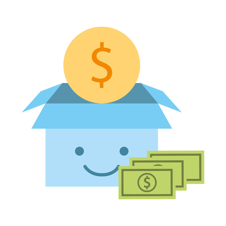 cardboard box cartoon and money coin bill charity donation vector illustration Reklamní fotografie - 109697569