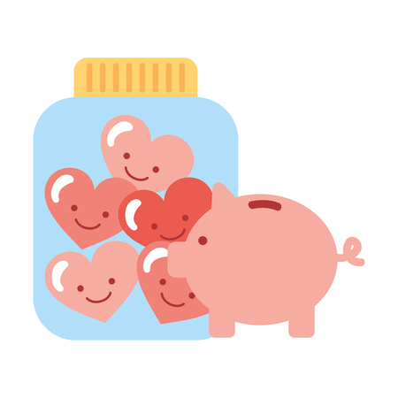 piggy bank glass jar cartoon hearts charity and donation vector illustration