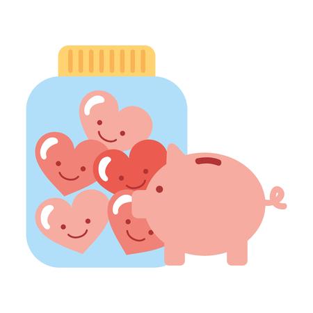 piggy bank glass jar cartoon hearts charity and donation vector illustration Banco de Imagens - 109697570