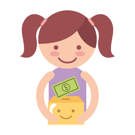 girl with cardboard box cartoon money charity and donation vector illustration