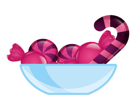 glass bowl with sweet candies confectionery vector illustration