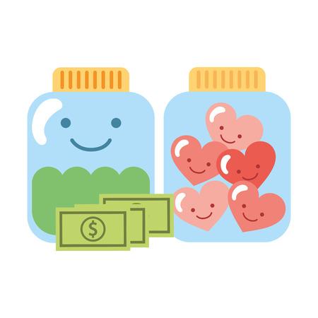 glass jar cartoon hearts and money charity donation vector illustration