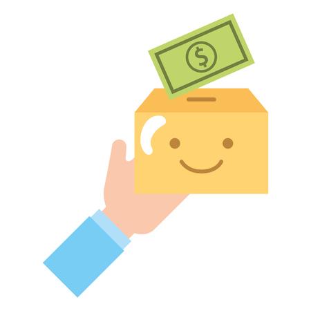 hand cardboard box cartoon and money charity donation vector illustration