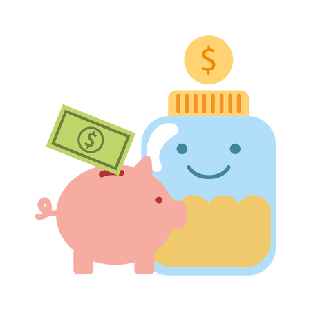 piggy bank glass jar money charity and donation vector illustration