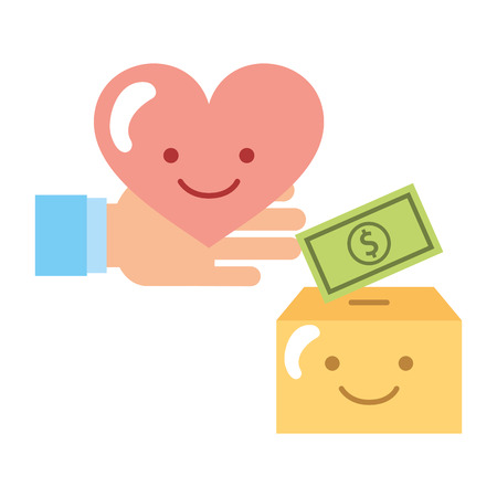 hand with heart cardboard box cartoon and money charity donation vector illustration Stok Fotoğraf