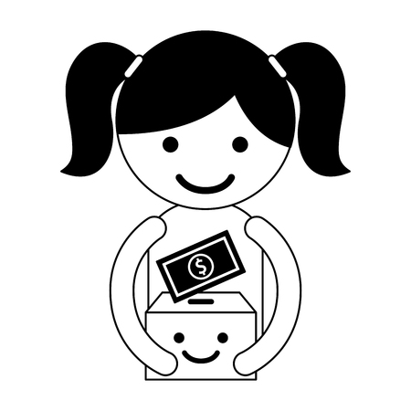 girl with cardboard box cartoon money charity and donation black and white vector illustration