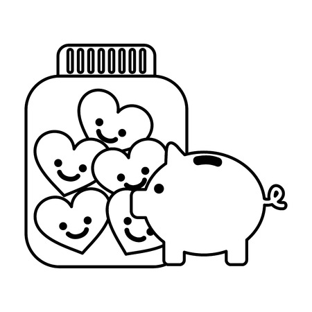 piggy bank glass jar cartoon hearts charity and donation black and white vector illustration