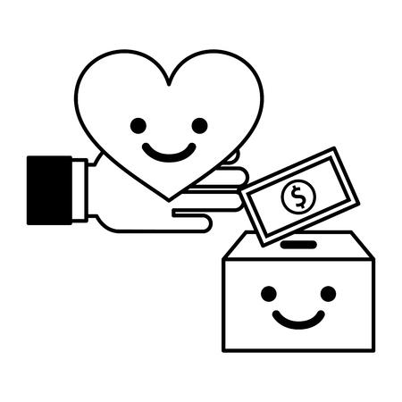 main avec coeur carton boîte dessin animé et argent don de charité illustration vectorielle noir et blanc