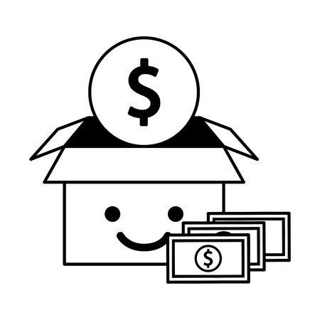cardboard box cartoon and money coin bill charity donation black and white vector illustration