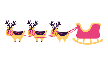 merry christmas sled moose colors vector illustration