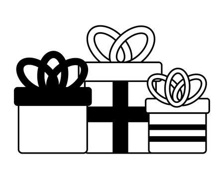 merry christmas december surprise gift boxes vector illustration