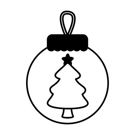 merry christmas ball with tree in middle vector illustration