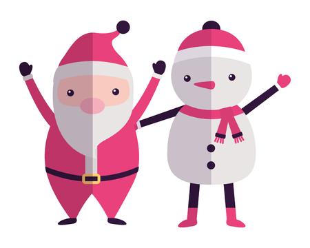merry christmas santa claus snowman greeting vector illustration