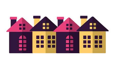 merry christmas colors houses december vector illustration
