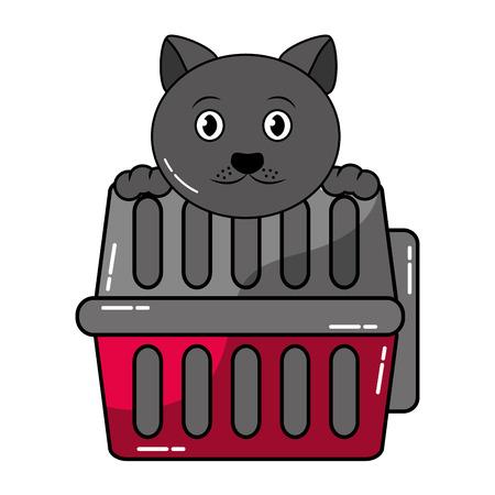 輸送ボックスベクトルイラストとかわいい猫  イラスト・ベクター素材