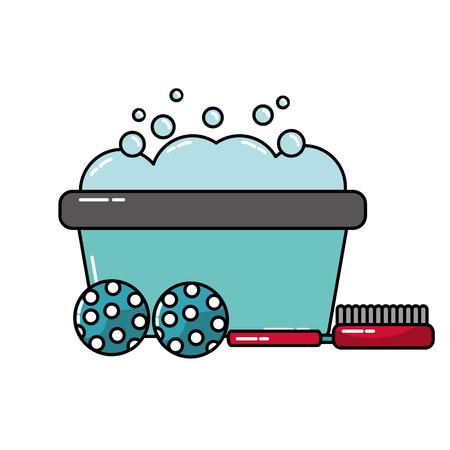 basin foam balls and brush grooming pet vector illustration