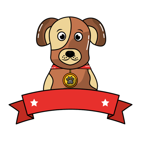 dog pet portrait with collar emblem vector illustration
