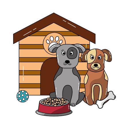 two dog sitting domestic with house and food vector illustration
