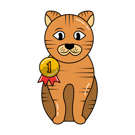 cute cat animal domestic with medal vector illustration