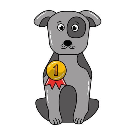 cute dog sitting with medal award vector illustration 일러스트
