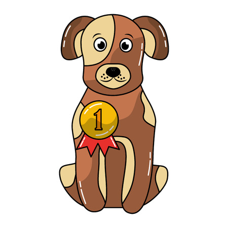 cute dog sitting with medal award vector illustration Illustration