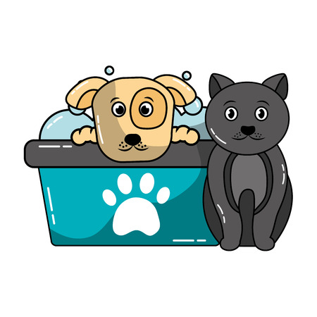 dog and cat pet grooming vector illustration