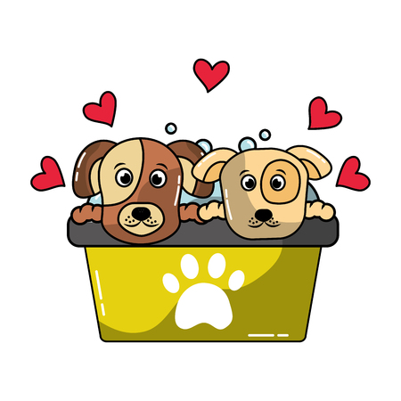 two dogs in basin bath grooming pet vector illustration
