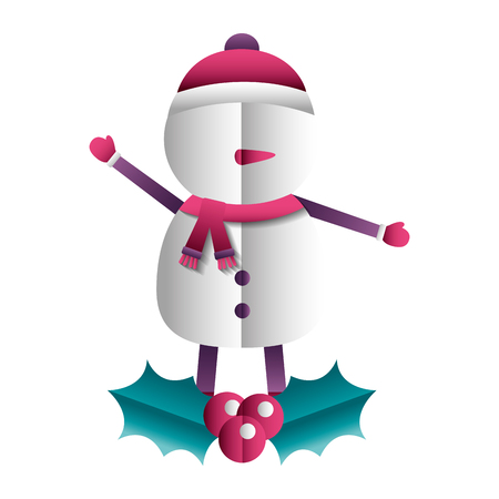 merry christmas snowman leaves decoration vector illustration Ilustrace