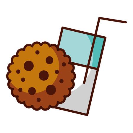 cookie and milk glass food dessert bakery vector illustration Illustration