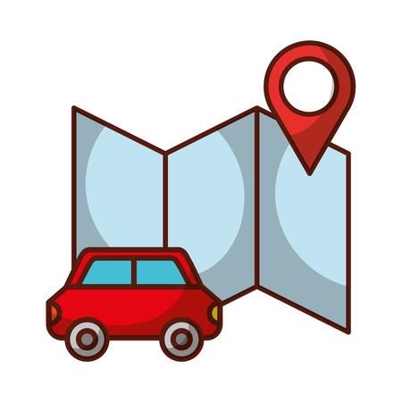 car transport location map travel vacations vector illustration
