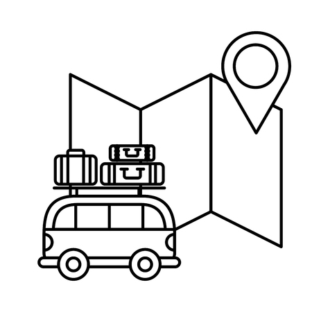 van car suitcases location map travel vacations vector illustration outline Illustration
