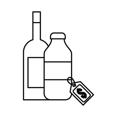 two bottle drink beverage tag price supermarket vector illustration