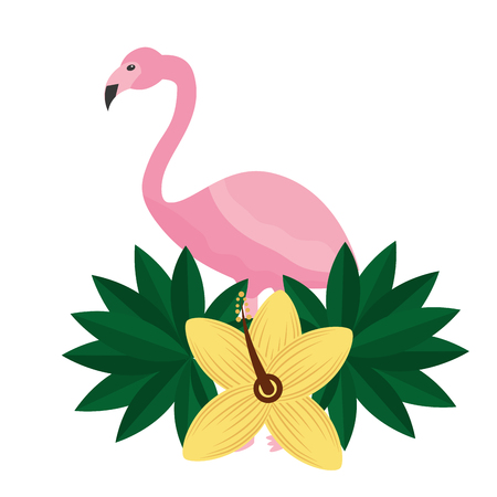 pink flamingo flower hibiscus tropical summer vector illustration