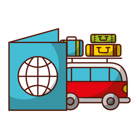 van car passport and luggage travel vacations vector illustration