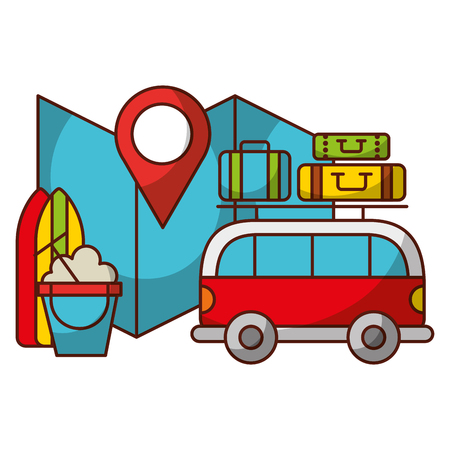 travel vacations van map luggage and surfboard vector illustration 向量圖像