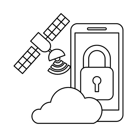 smartphone cloud storage satellite security autonomous car vector illustration